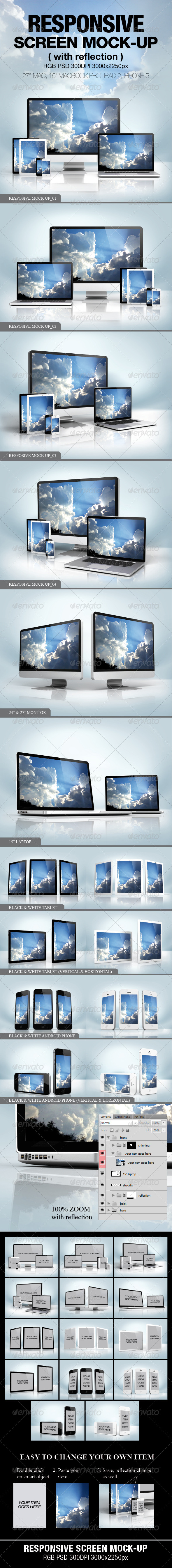 GraphicRiver Responsive screen Mock-up 4045936