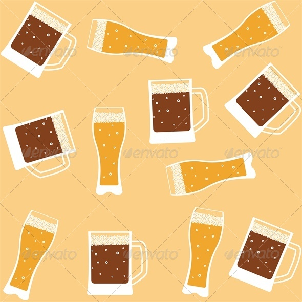 GraphicRiver Seamless background with mug of beer 4046054