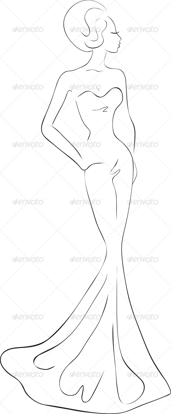 Fashion sketch of woman in evening maxi dress