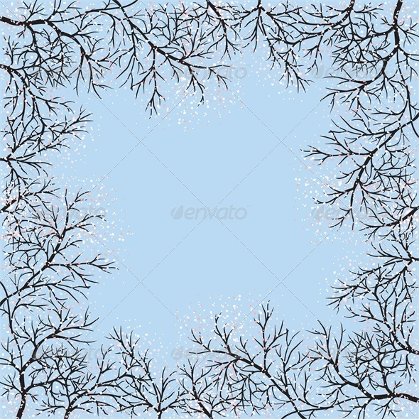 GraphicRiver Blooming Trees Frame and Blue Sky 4046107