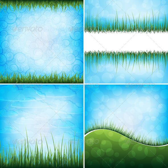 GraphicRiver Set of grass backgrounds 4046281