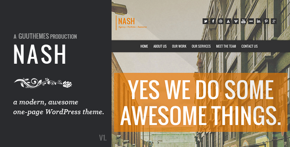 ThemeForest NASH Responsive HTML5 One Page WordPress Theme 4046287