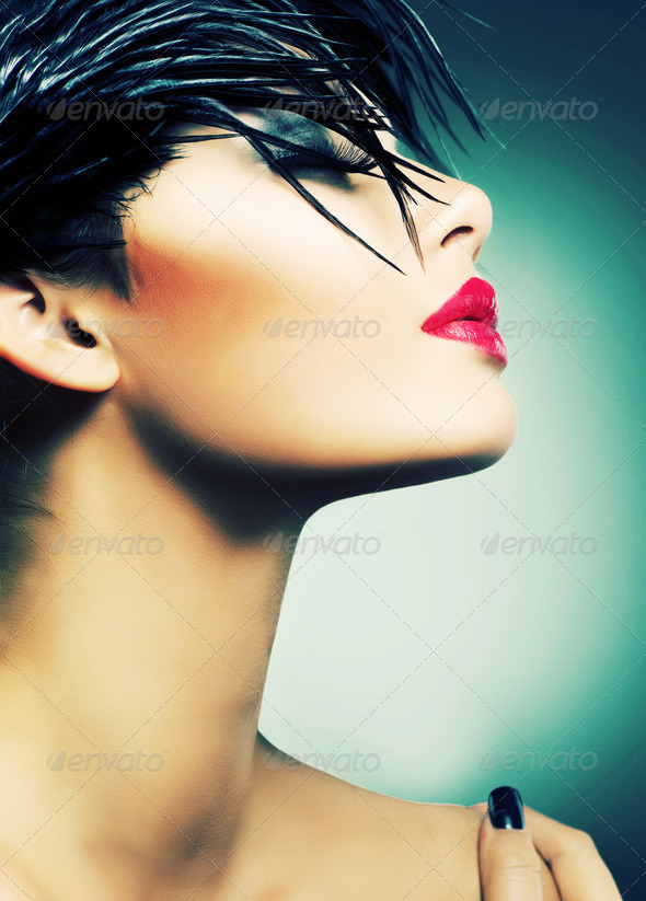 Fashion Art Portrait Of Beautiful Girl. Vogue Style Woman - Stock Photo - Images