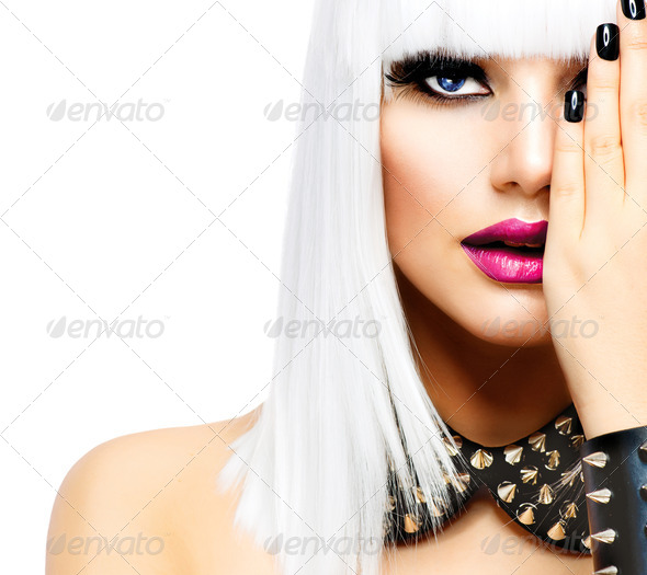 Fashion Beauty Girl. Punk Style Woman isolated on White - Stock Photo - Images