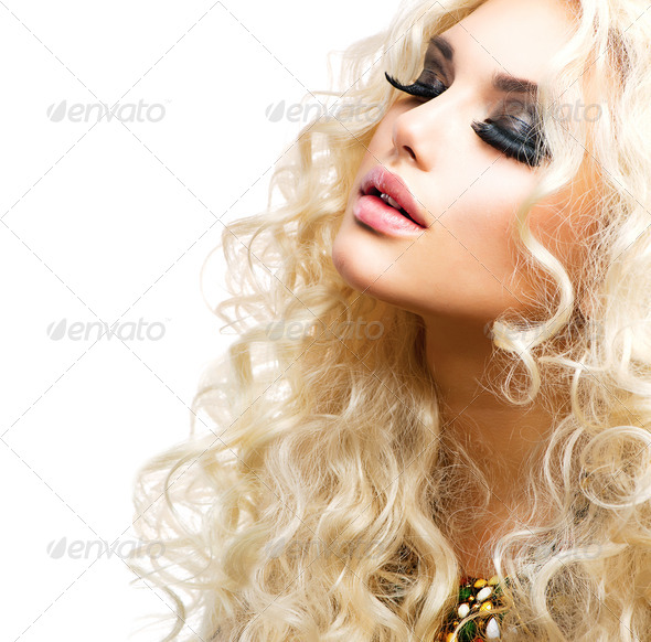 Beautiful Girl with Curly Blond Hair isolated on White - Stock Photo - Images