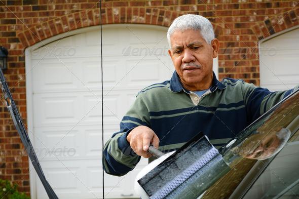 Man Washing His Car - Stock Photo - Images