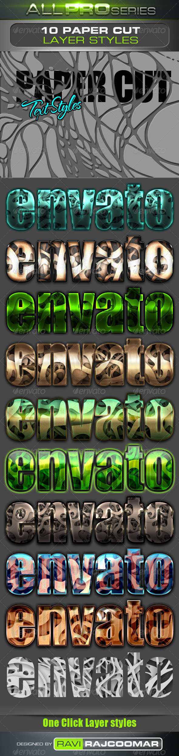 GraphicRiver Paper Cut Photoshop Text Styles 4047387