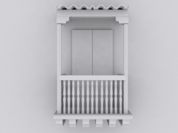 low poly colonial balcony - 3DOcean Item for Sale