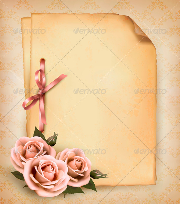 GraphicRiver Retro background with beautiful pink roses 4047546