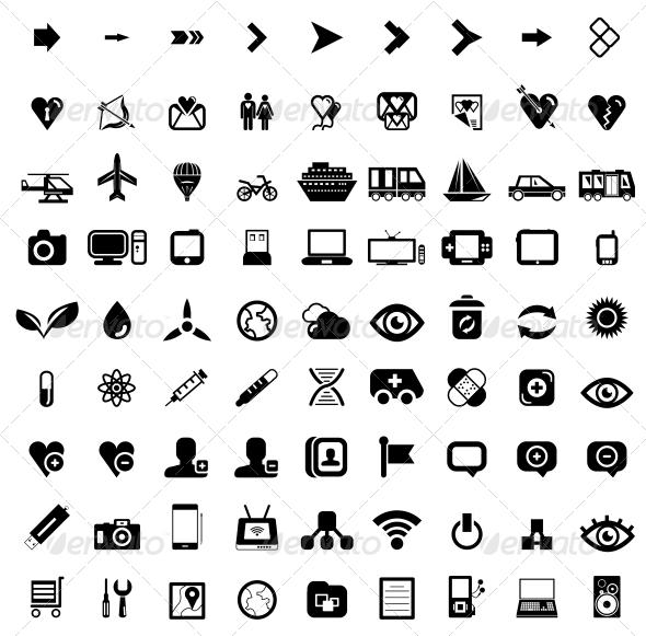 GraphicRiver Big set of black universal web icons 4047581