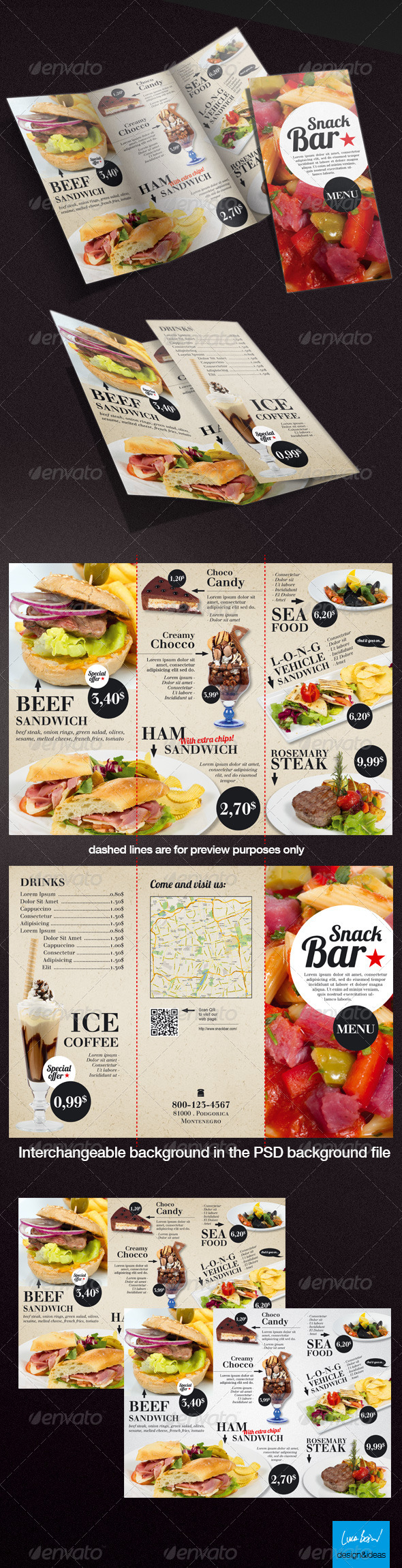 GraphicRiver Tri-Fold A4 Snack Bar Menu 4047593