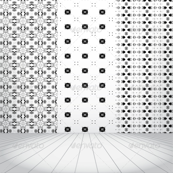 GraphicRiver White room with set seamless and wooden floor 4047696