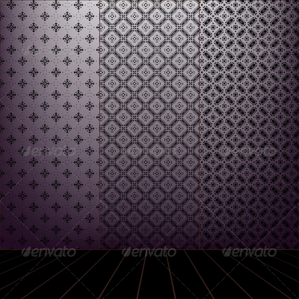 GraphicRiver Lilac Room with set seamless and wooden floor 4047714
