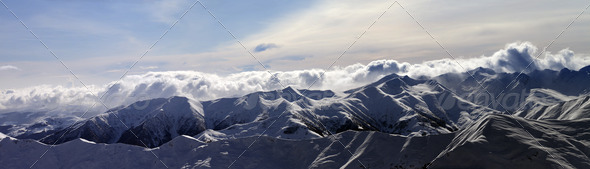 Panorama of winter mountains at sunset - Stock Photo - Images