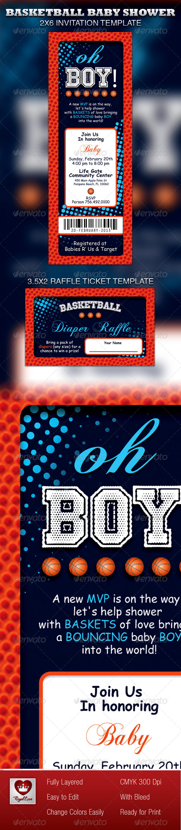 GraphicRiver Basketball Baby Shower Invitation & Raffle Ticket 4047992