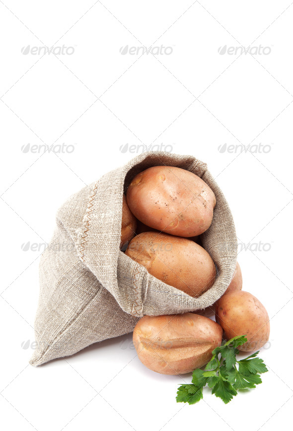 PhotoDune Raw potatoes in burlap bag isolated on white background 4049234