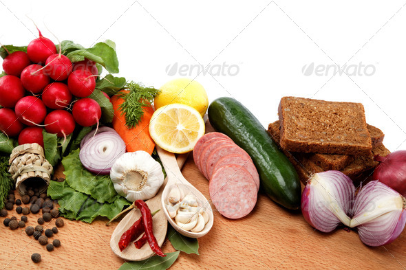 PhotoDune Healthy food Fresh vegetables and fruits on a wooden table 4049246