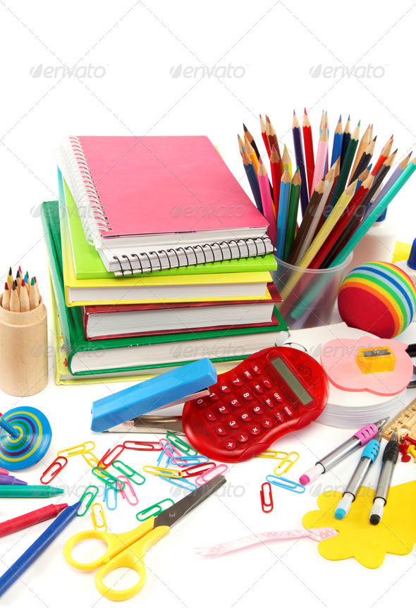 PhotoDune School and office supplies on white background Back to school 4049248