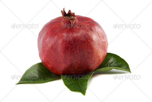 PhotoDune pomegranate with green leaves isolated on white background 4049257