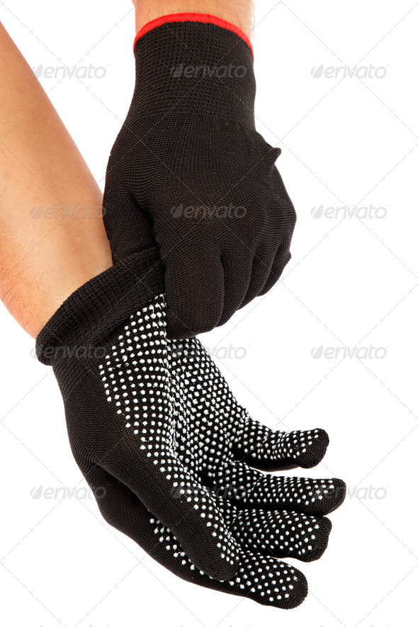 PhotoDune Black work gloves on hands isolated on white background 4049266