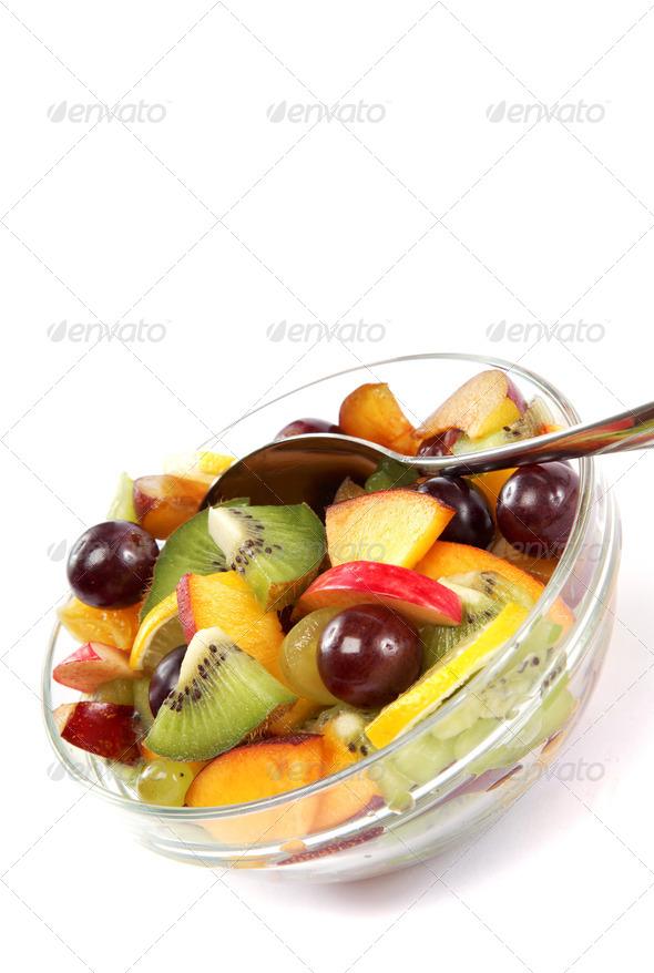 PhotoDune Fresh fruits salad on white background 4049270