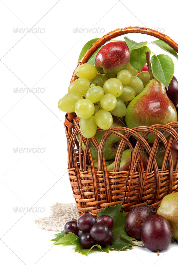 PhotoDune Fresh fruits in a basket on white background Set of different 4049273