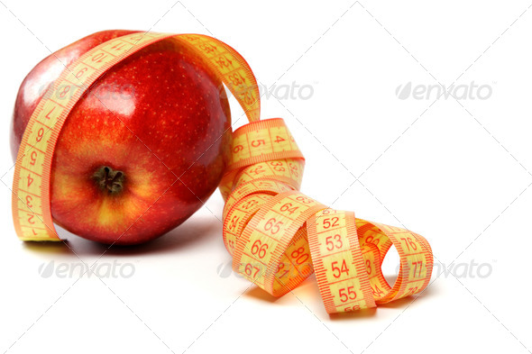 PhotoDune Red apple and measuring tape on a white background 4049295