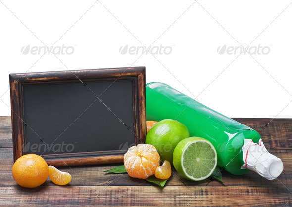 PhotoDune bottles of juice from citrus fruits and blackboard 4081654