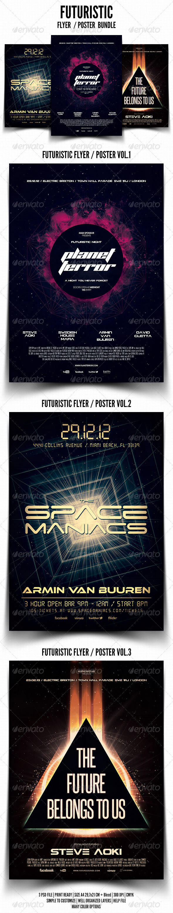 Futuristic Flyer / Poster Bundle - Events Flyers