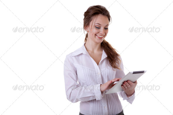 PhotoDune Secretary holding a digital tablet in her hands smiling isolated 4082261