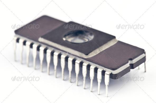 PhotoDune Electronic chip isolated on white base 4049421