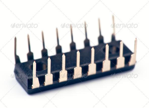 PhotoDune Electronic chip isolated on white base 4049422