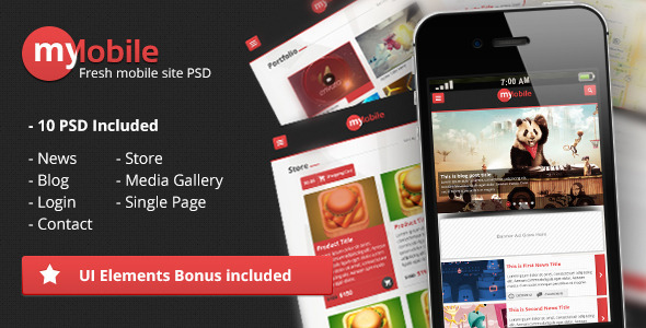 MyMobile Interface PSD