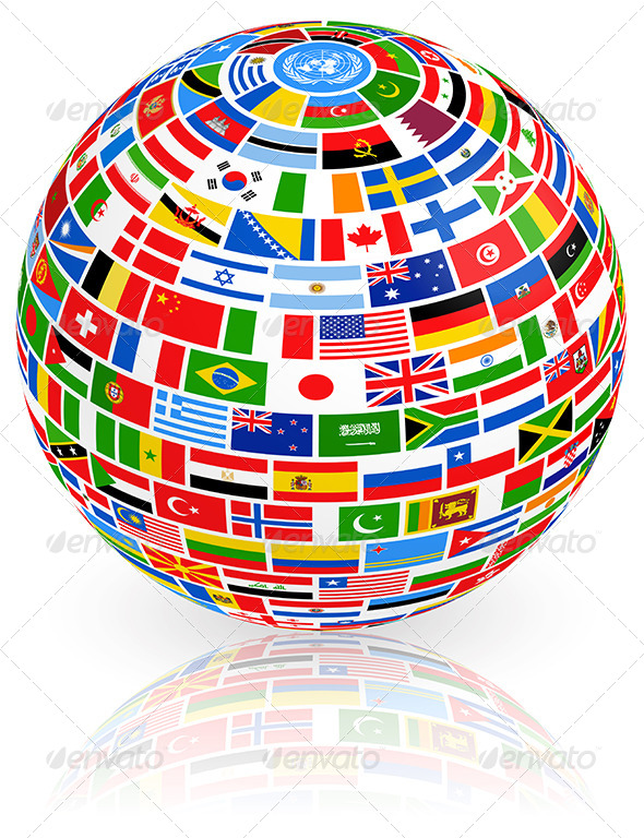 Big Vector globe composed of world nations Flags