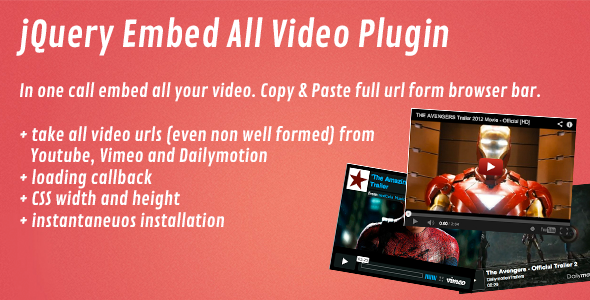 CodeCanyon jQuery Embed All Video Plugin 4052193