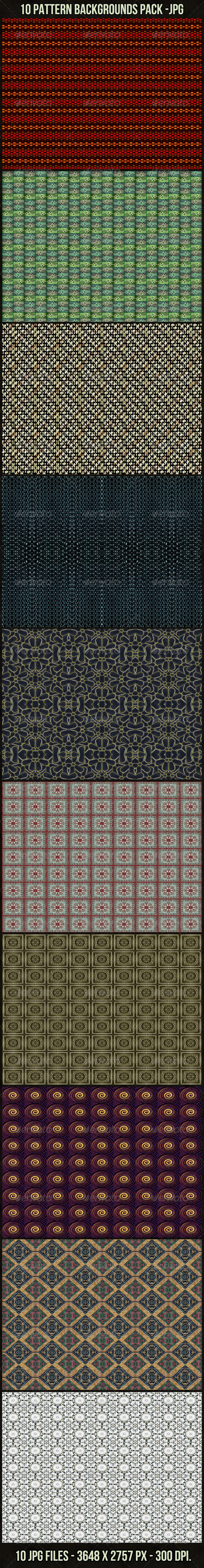 10 Pattern Backgrounds Pack - Patterns Backgrounds