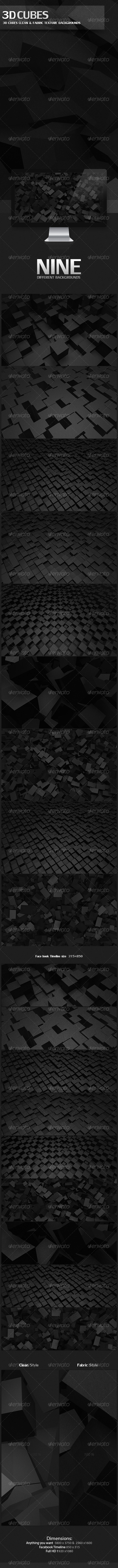 GraphicRiver 3D Cubes Clean & Fabric Texture Backgrounds 4052353