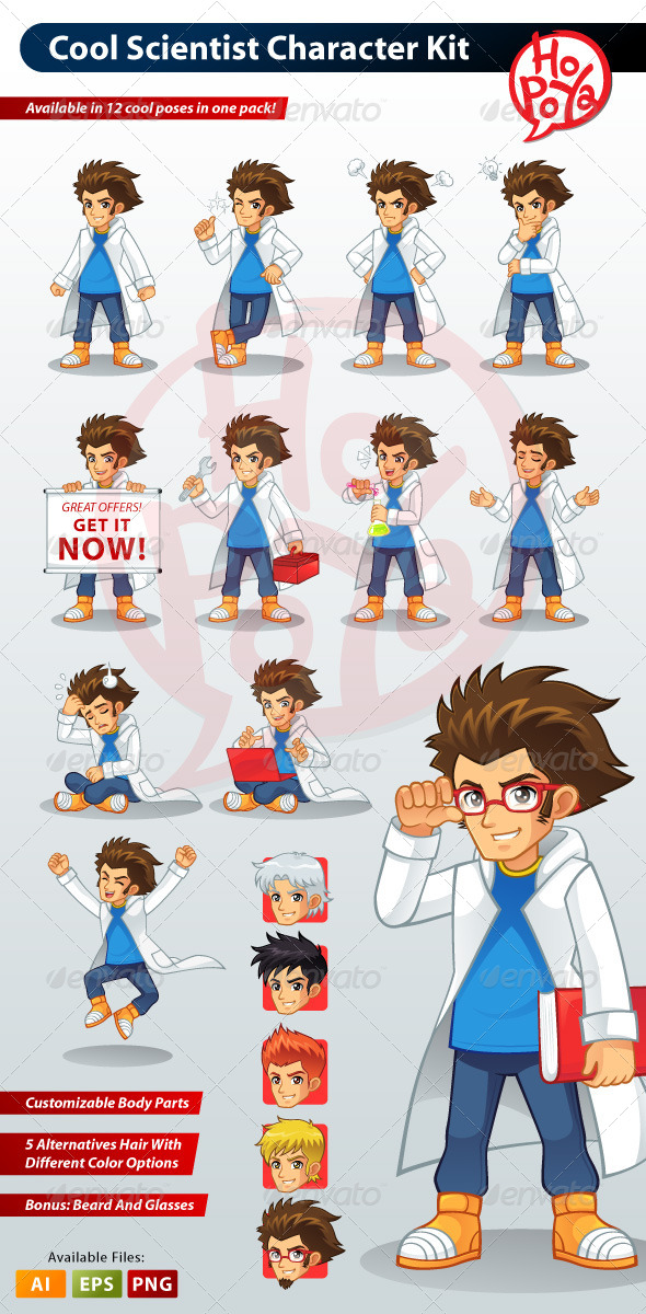 Cool Scientist Character Kit - Characters Vectors