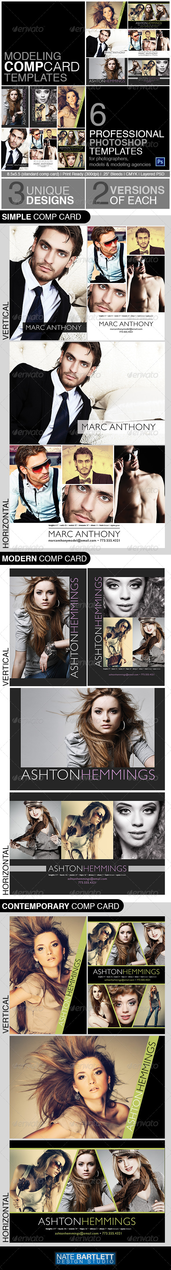 free model comp card template psd - model comp card template kit graphicriver