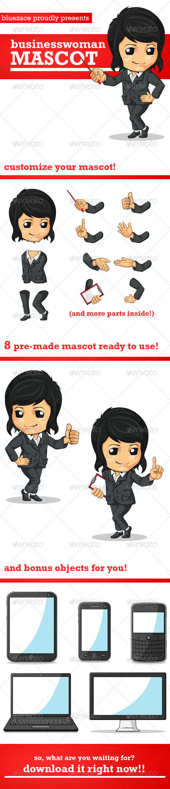 GraphicRiver Business Woman Mascot 4052740