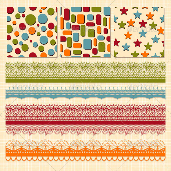 GraphicRiver Vector Seamless Patterns and Lacy Ribbons 4053140