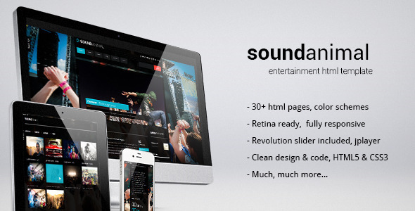 ThemeForest Sound animal entertainment html template 4054478