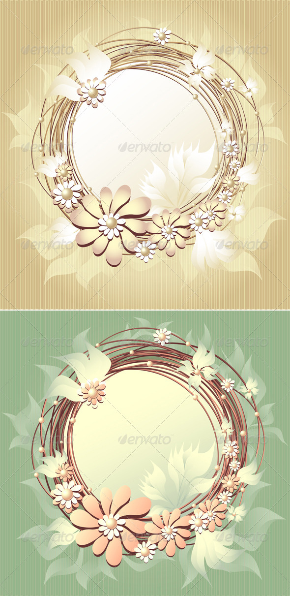 GraphicRiver Scrapbooking Floral Frame with Flowers and Pearls 3777499