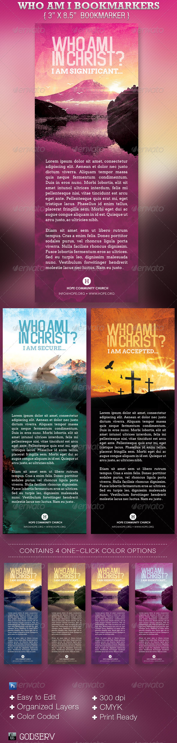 GraphicRiver Who Am I In Christ Bookmarker Template 3932422