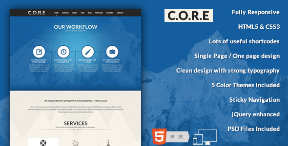 ThemeForest Core One Page Responsive HTML5 Template 4049384