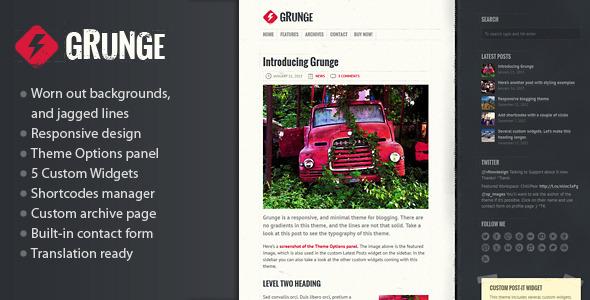 ThemeForest Grunge Responsive Blog Theme 4040858