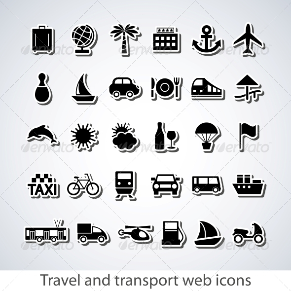 GraphicRiver Travel and transport buttons set 4055666