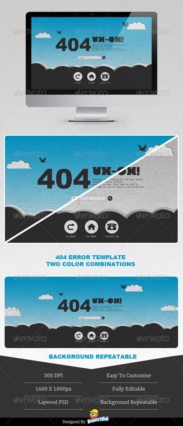 GraphicRiver Sky High 404 Error Page 4056049