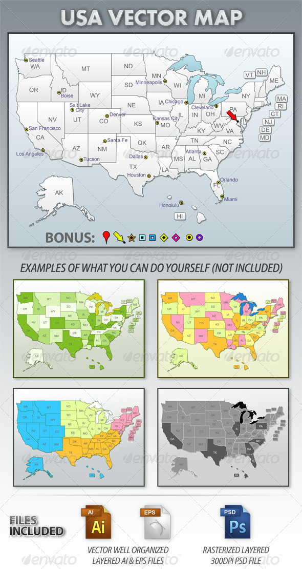 GraphicRiver USA Vector Map 4056193