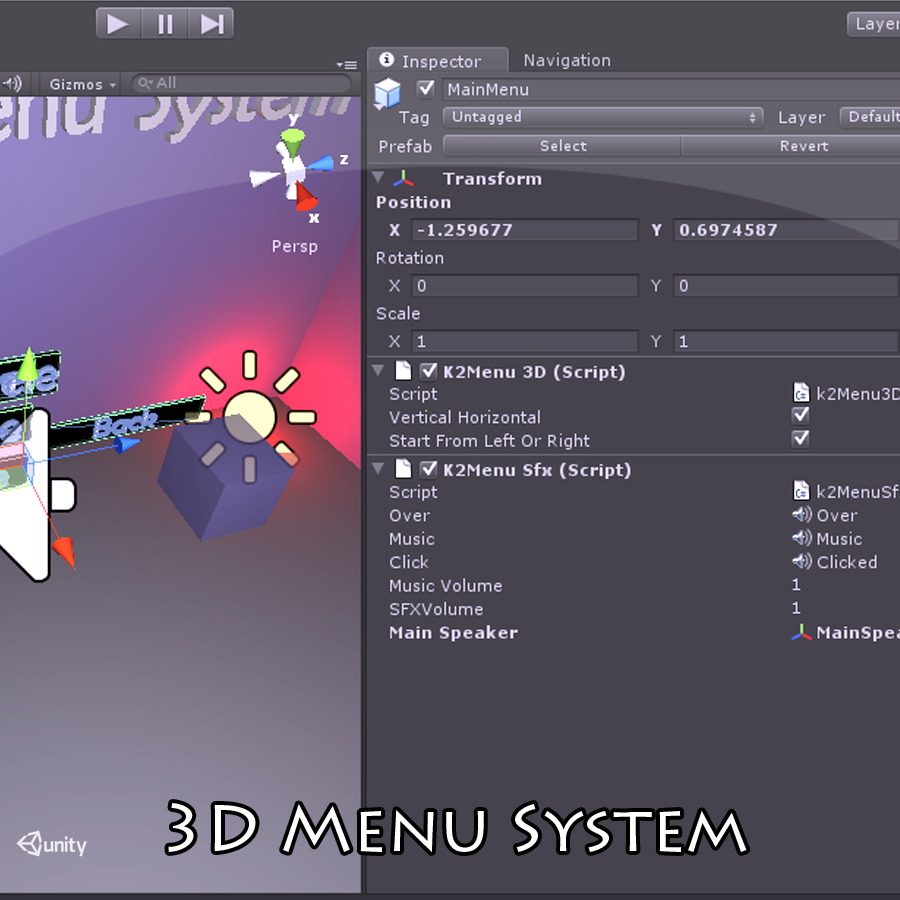 3D Main Menu System
